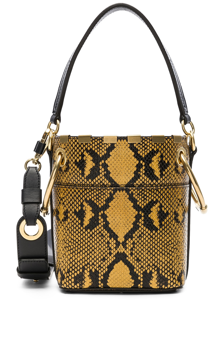 Image 1 of Chloe Mini Roy Python Print Leather Bucket Bag in September Sun 4346bd92a85a9