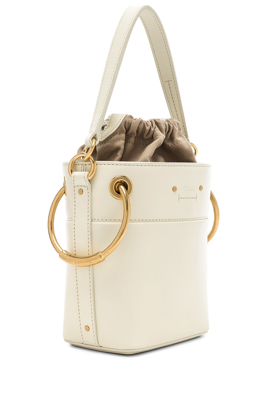 Image 4 of Chloe Mini Roy Calfskin Bucket Bag in Natural White