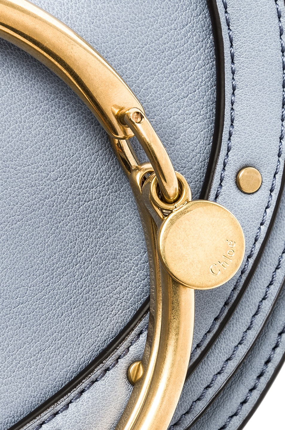 Image 8 of Chloe Small Nile Leather Minaudiere in Washed Blue