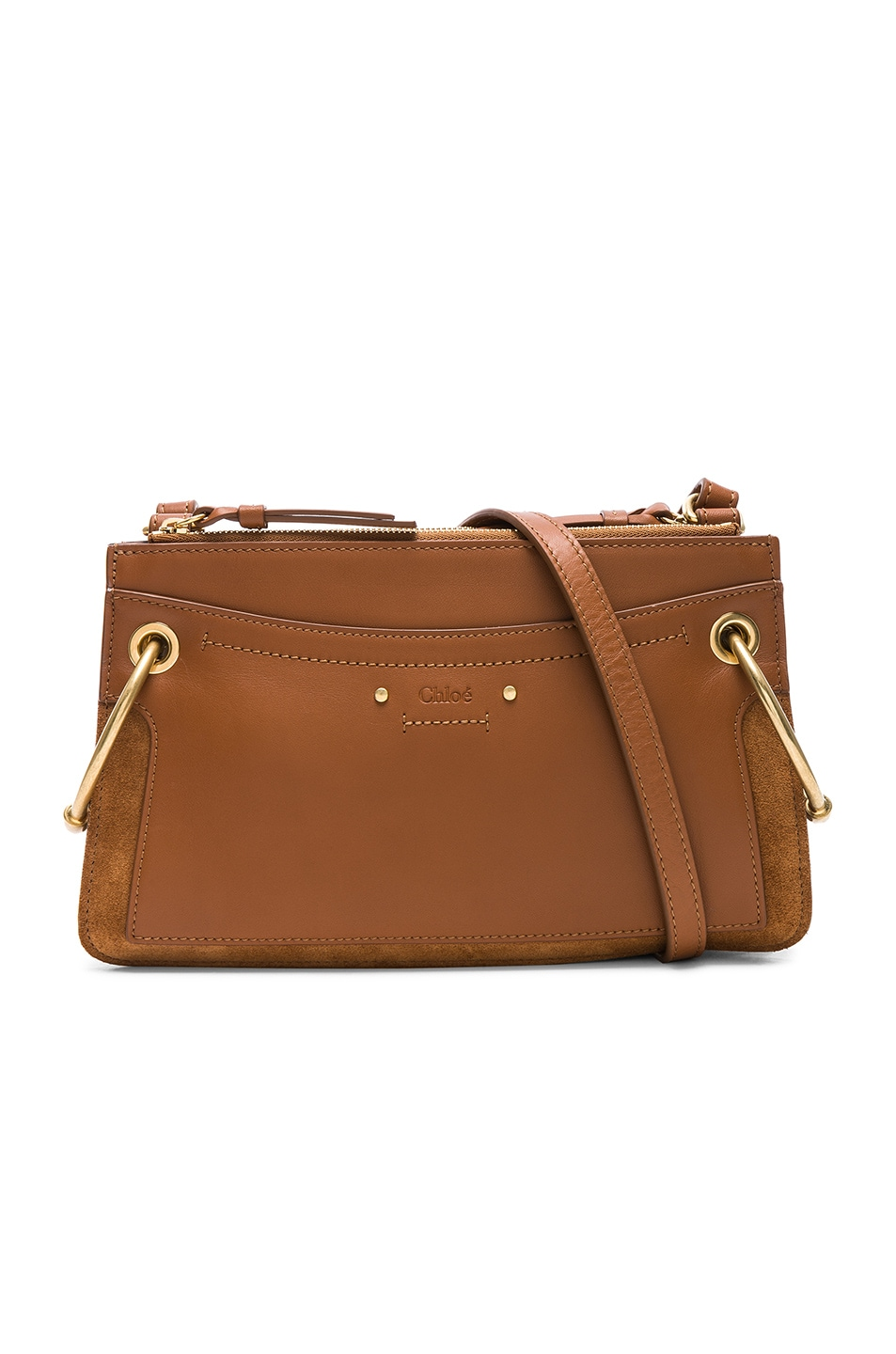 Image 1 of Chloe Mini Roy Calfskin & Suede Shoulder Bag in Caramel