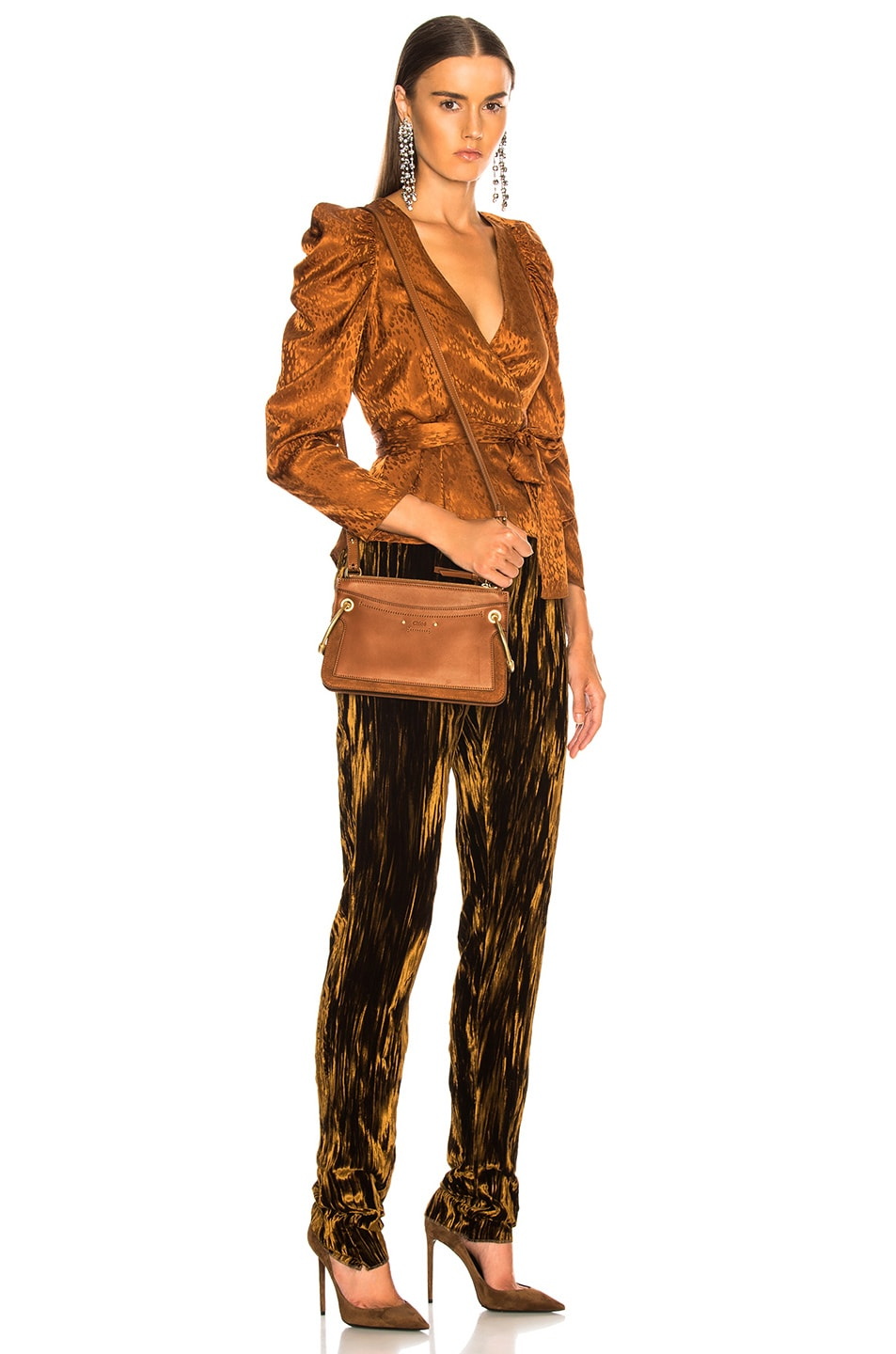 Image 2 of Chloe Mini Roy Calfskin & Suede Shoulder Bag in Caramel
