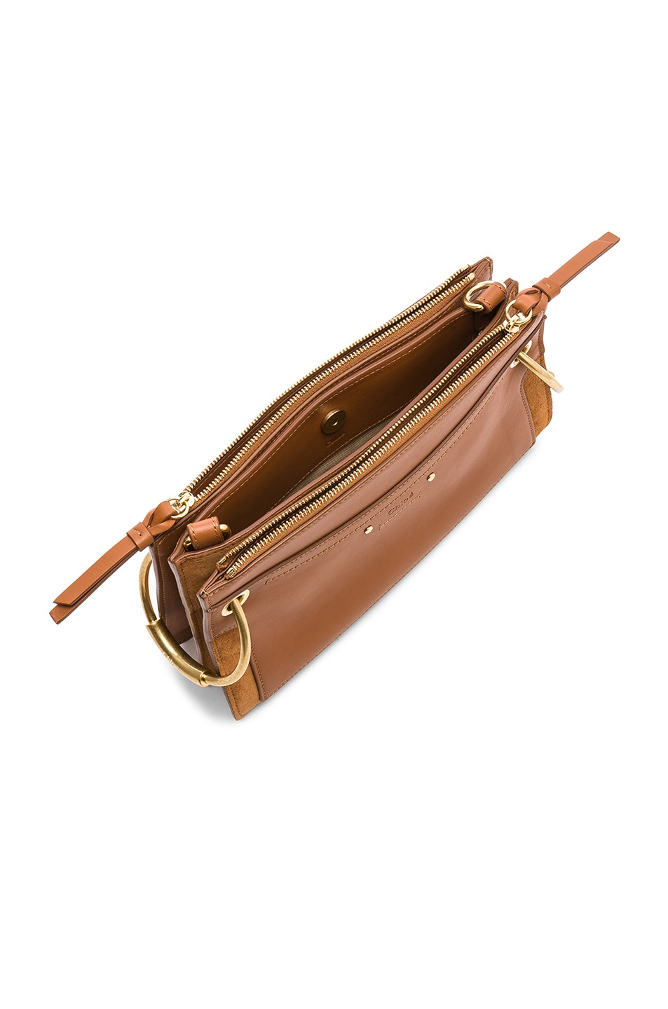Image 5 of Chloe Mini Roy Calfskin & Suede Shoulder Bag in Caramel