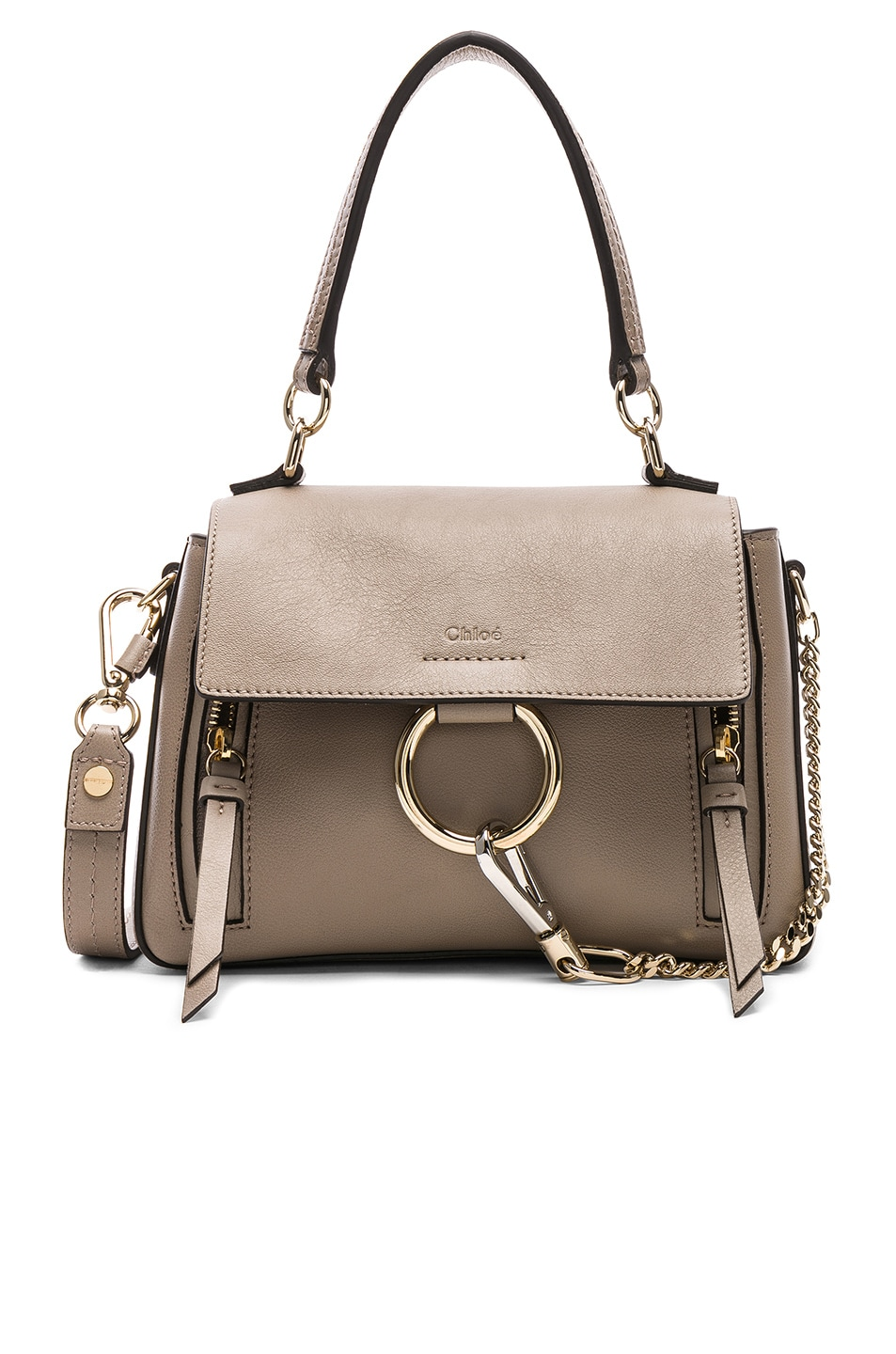 Image 1 of Chloe Mini Faye Calfskin & Suede Day Bag in Motty Grey