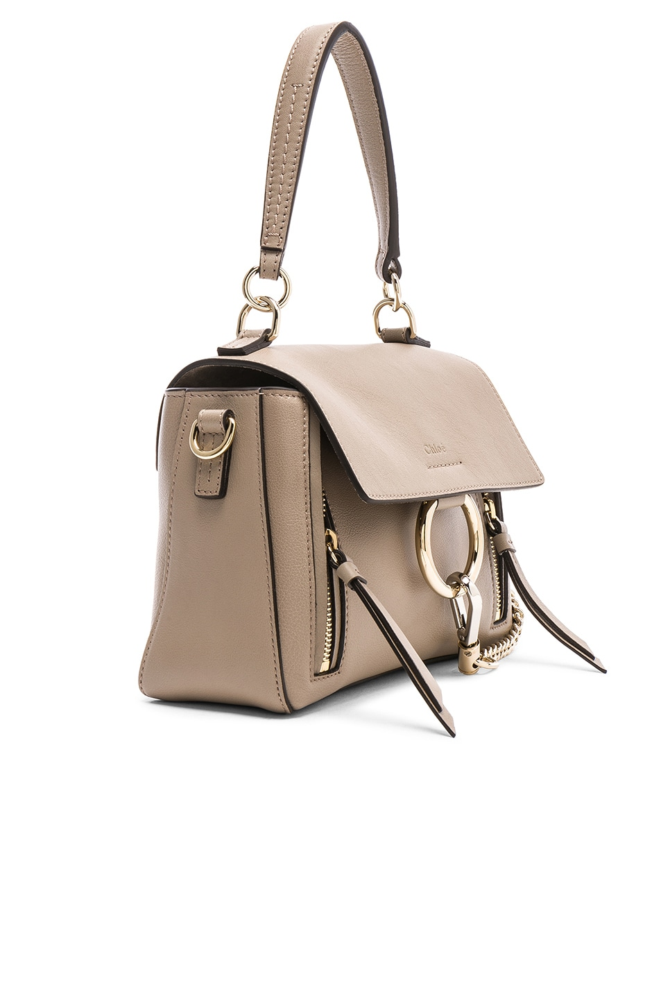 Image 4 of Chloe Mini Faye Calfskin & Suede Day Bag in Motty Grey