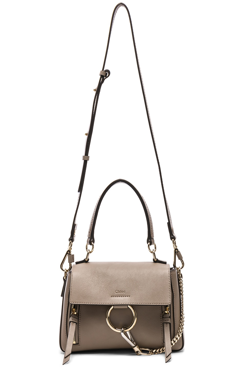 Image 6 of Chloe Mini Faye Calfskin & Suede Day Bag in Motty Grey