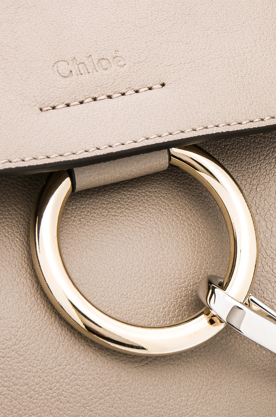 Image 8 of Chloe Mini Faye Calfskin & Suede Day Bag in Motty Grey