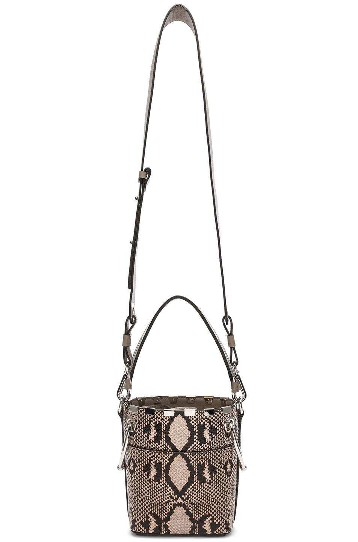 Image 6 of Chloe Mini Roy Python Print Leather Bucket Bag in Eternal Grey