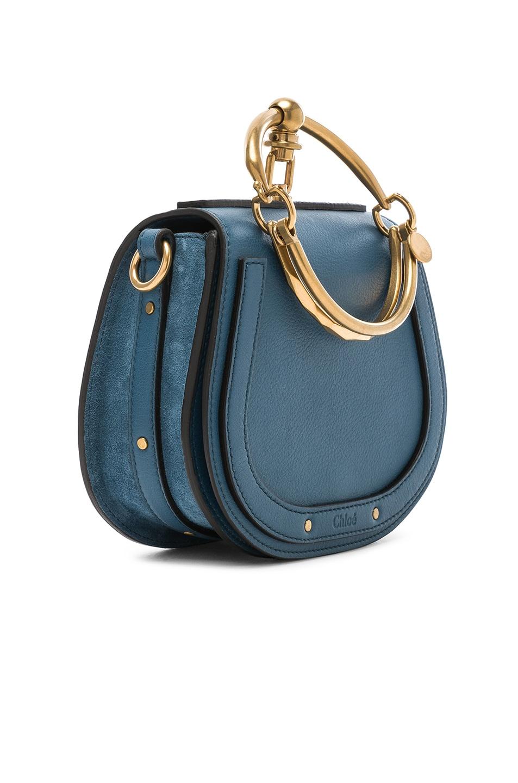 Image 3 of Chloe Small Nile Bracelet Bag Calfskin & Suede in Vinyl Blue
