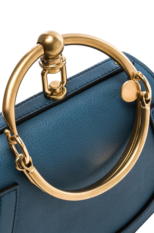 Image 7 of Chloe Small Nile Bracelet Bag Calfskin & Suede in Vinyl Blue