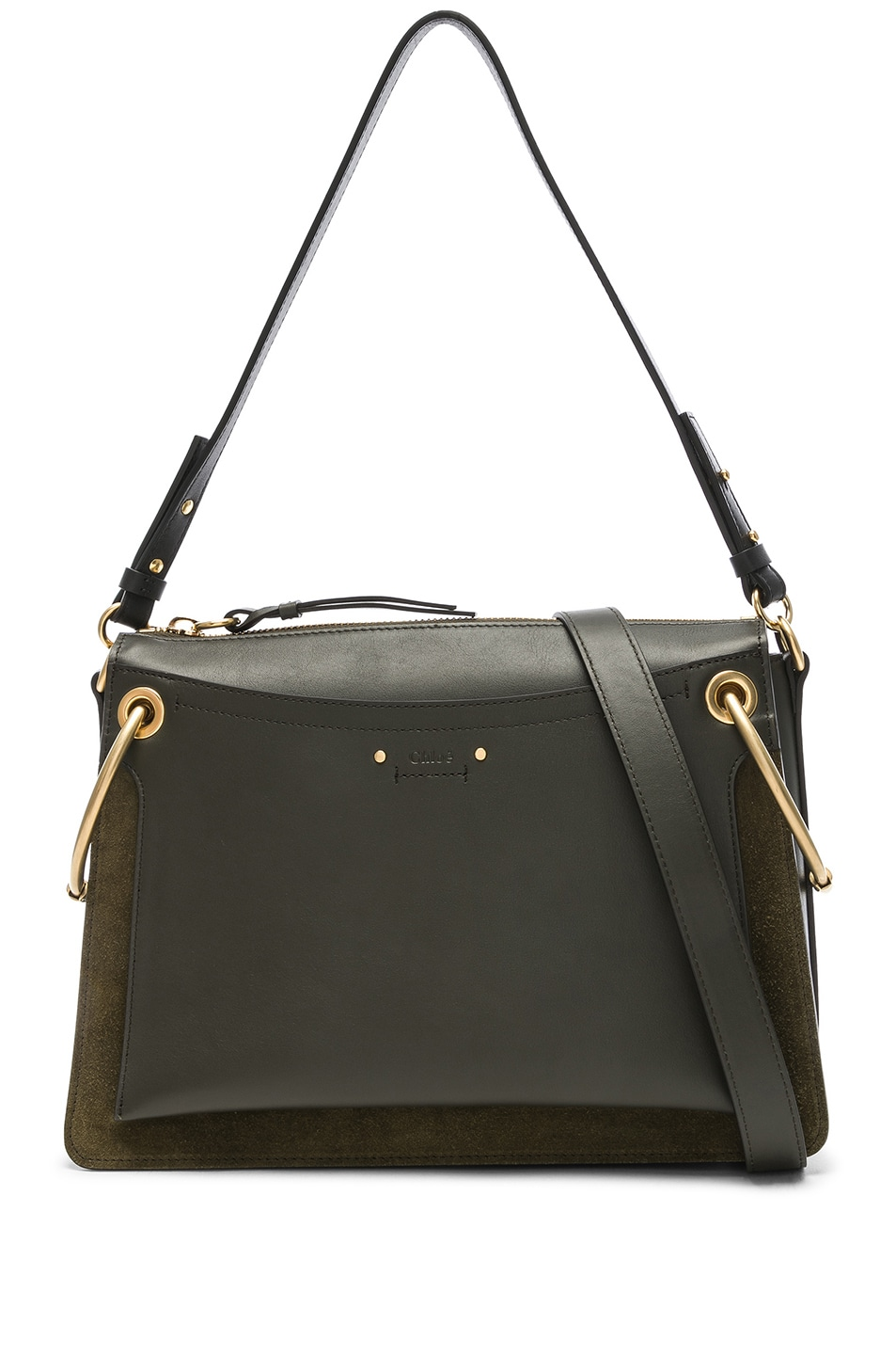 Image 1 of Chloe Medium Roy Calfskin & Suede Shoulder Bag in Deep Forest