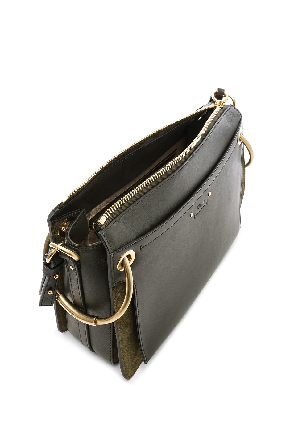 Image 5 of Chloe Medium Roy Calfskin & Suede Shoulder Bag in Deep Forest