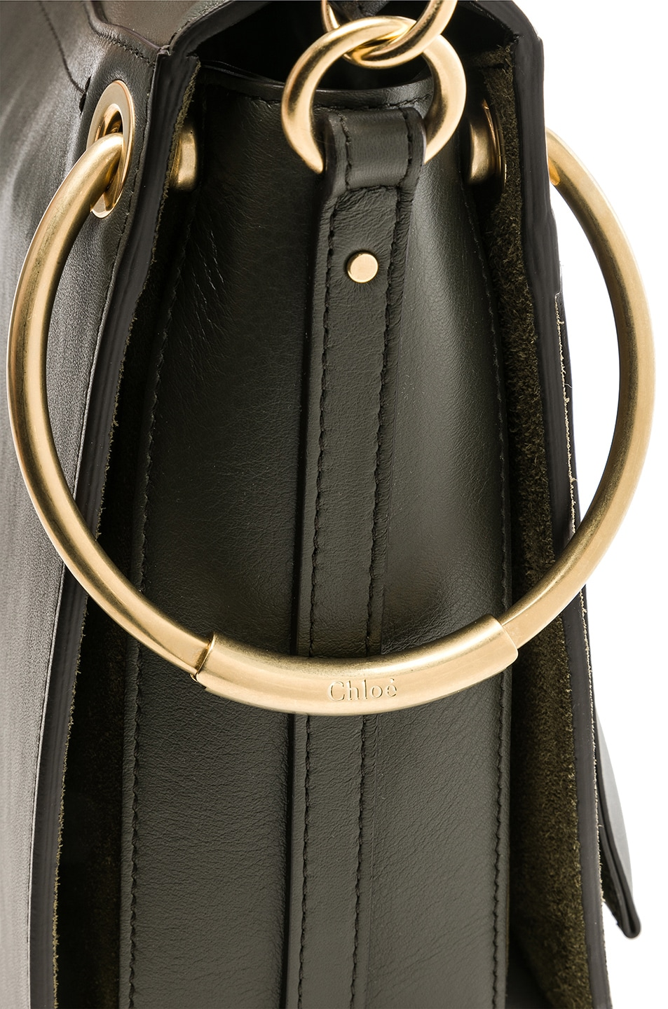Image 8 of Chloe Medium Roy Calfskin & Suede Shoulder Bag in Deep Forest
