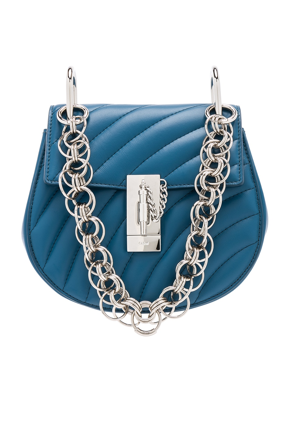 Image 1 of Chloe Mini Drew Bijou Quilted Smooth Calfskin Shoulder Bag in Vinyl Blue & Silver