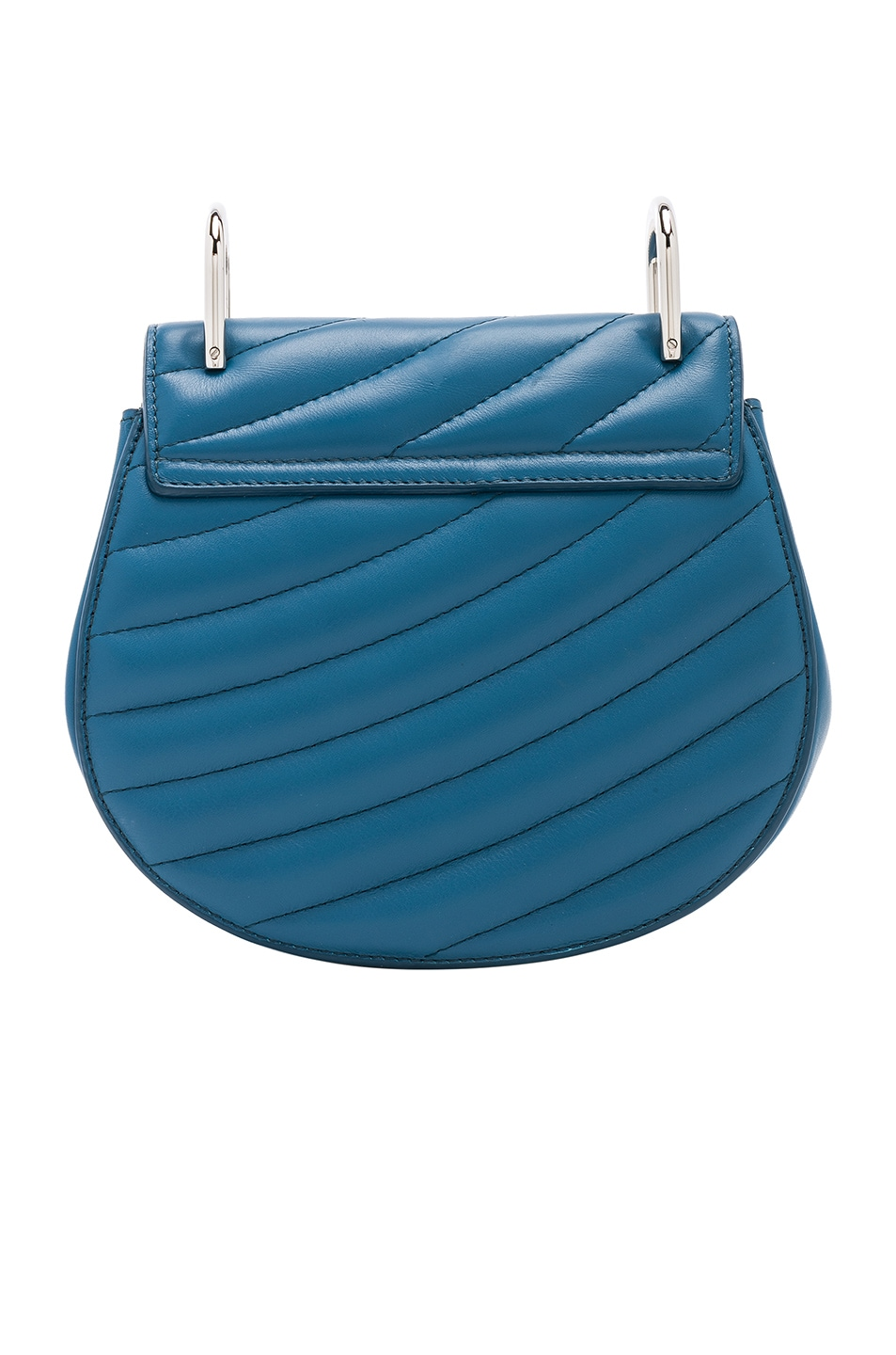 Image 3 of Chloe Mini Drew Bijou Quilted Smooth Calfskin Shoulder Bag in Vinyl Blue & Silver
