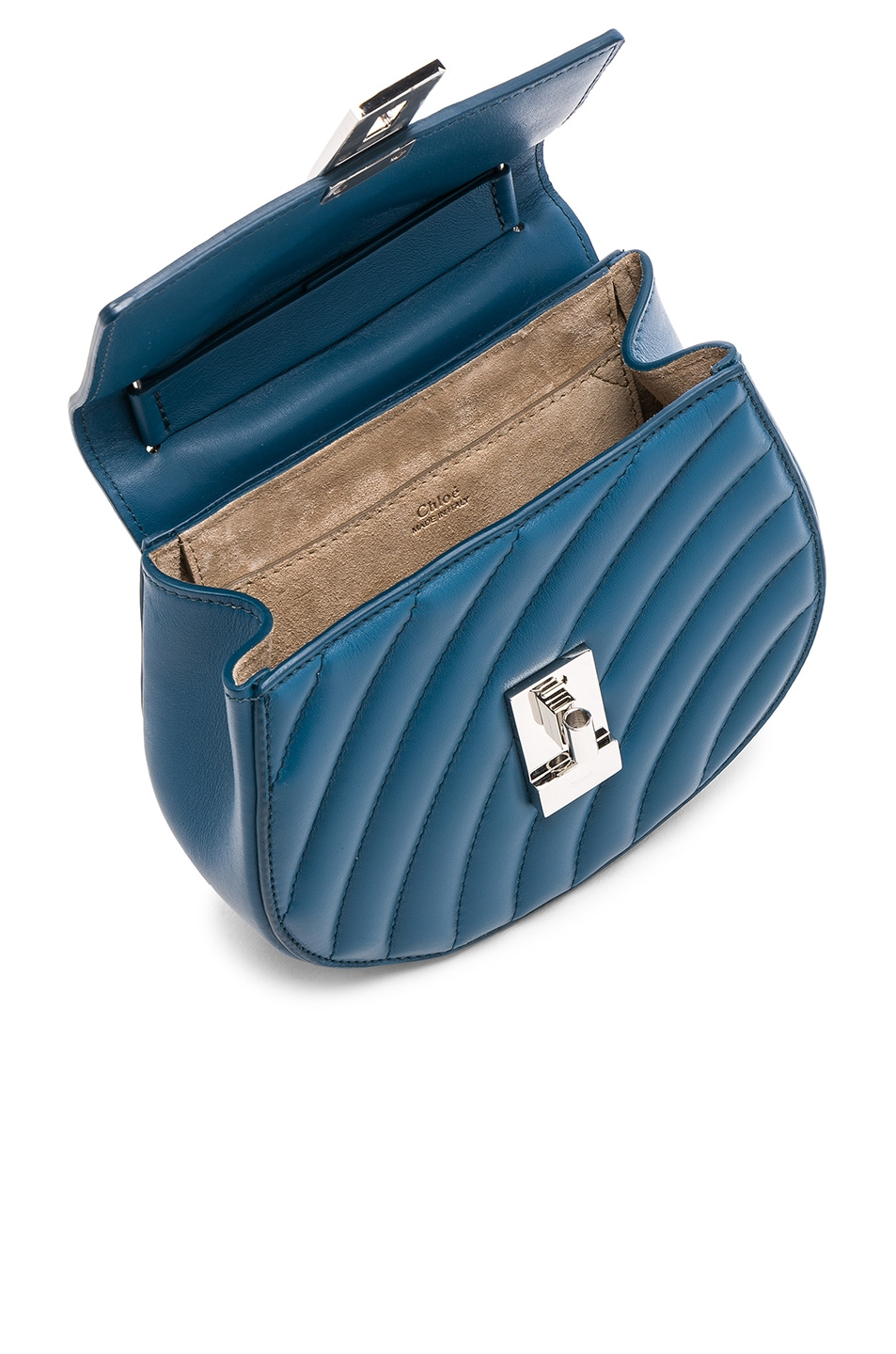 Image 5 of Chloe Mini Drew Bijou Quilted Smooth Calfskin Shoulder Bag in Vinyl Blue & Silver
