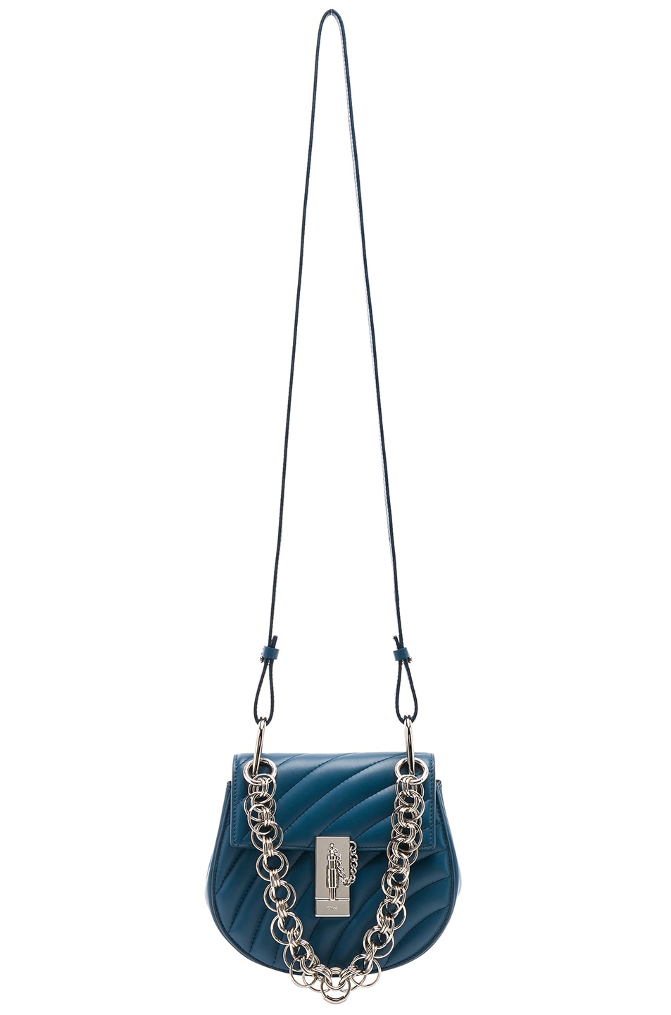 Image 6 of Chloe Mini Drew Bijou Quilted Smooth Calfskin Shoulder Bag in Vinyl Blue & Silver