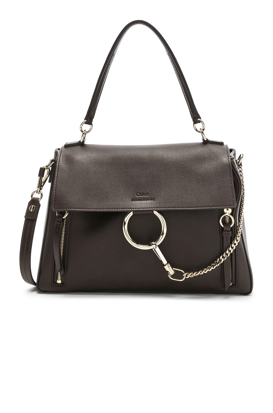 Image 1 of Chloe Medium Faye Calfskin & Suede Day Bag in Carbon Brown