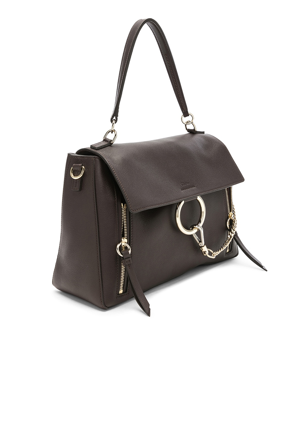 Image 4 of Chloe Medium Faye Calfskin & Suede Day Bag in Carbon Brown
