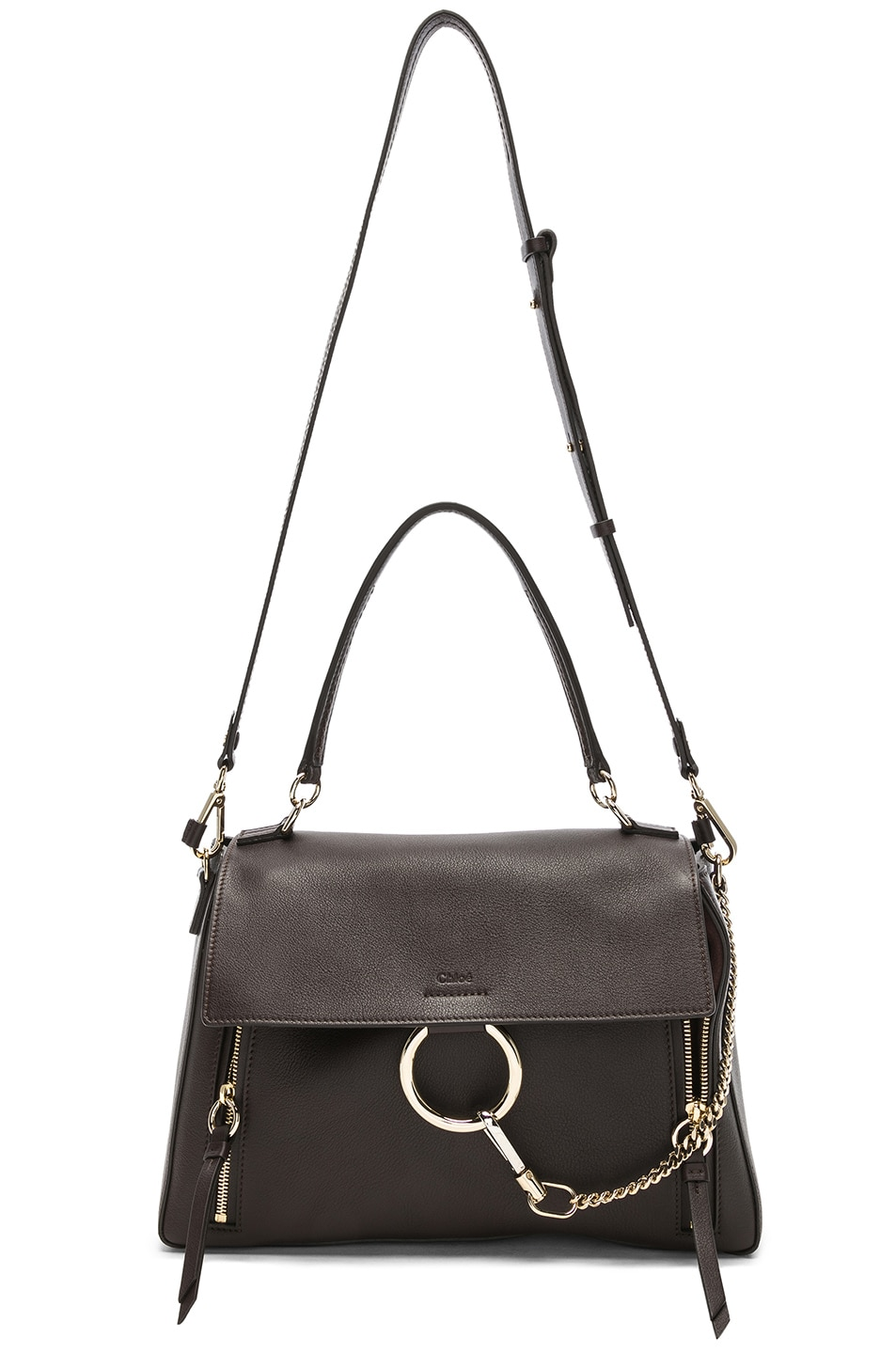 Image 6 of Chloe Medium Faye Calfskin & Suede Day Bag in Carbon Brown