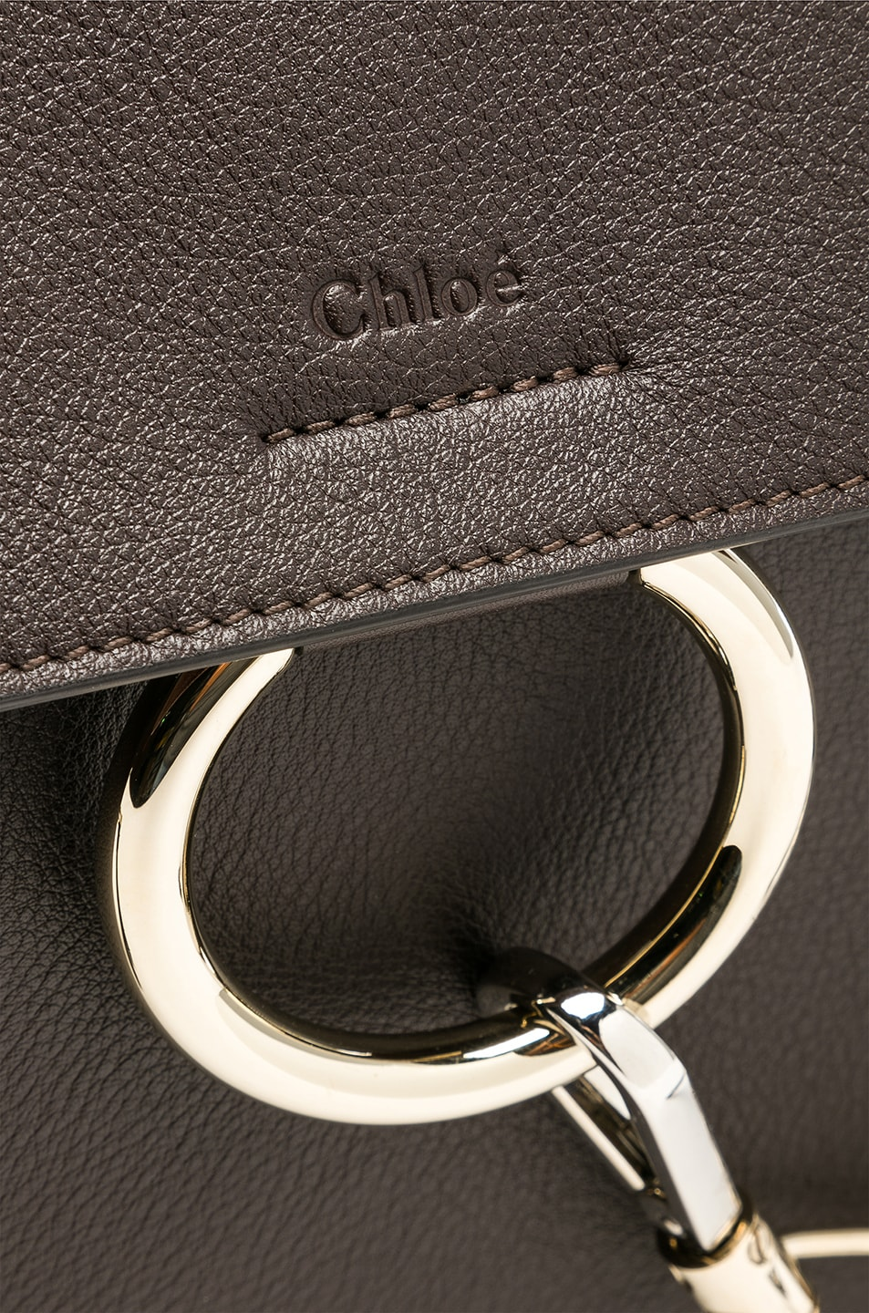 Image 8 of Chloe Medium Faye Calfskin & Suede Day Bag in Carbon Brown