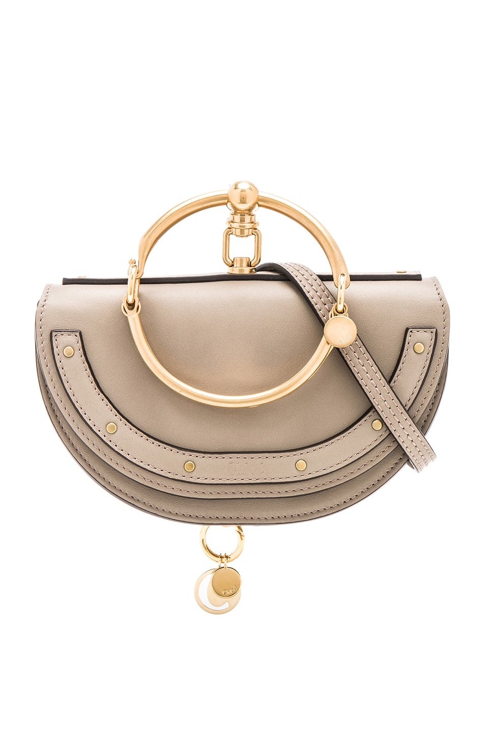 Image 1 of Chloe Small Nile Leather Minaudiere in Motty Grey