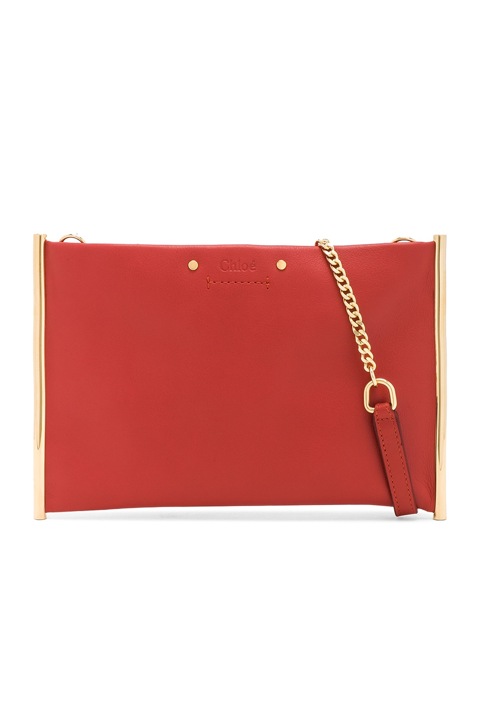 Image 1 of Chloe Roy Smooth Calfskin Clutch in Earthy Red