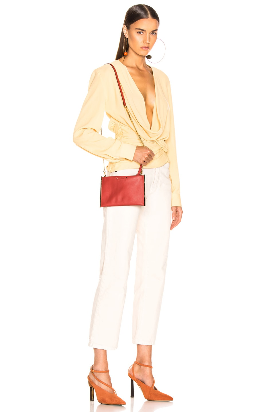 Image 2 of Chloe Roy Smooth Calfskin Clutch in Earthy Red