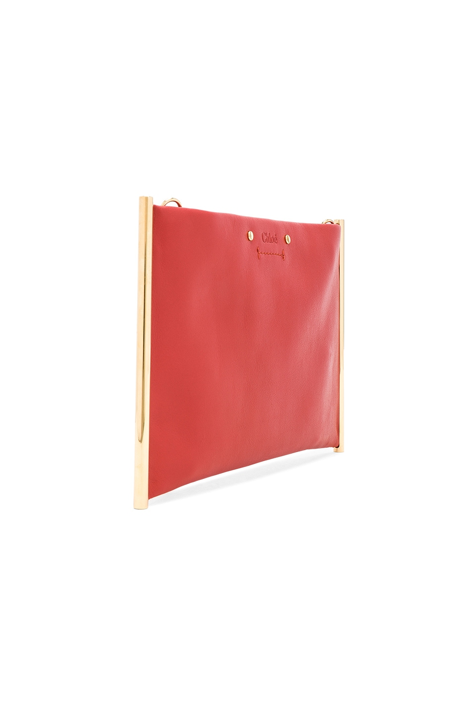 Image 4 of Chloe Roy Smooth Calfskin Clutch in Earthy Red