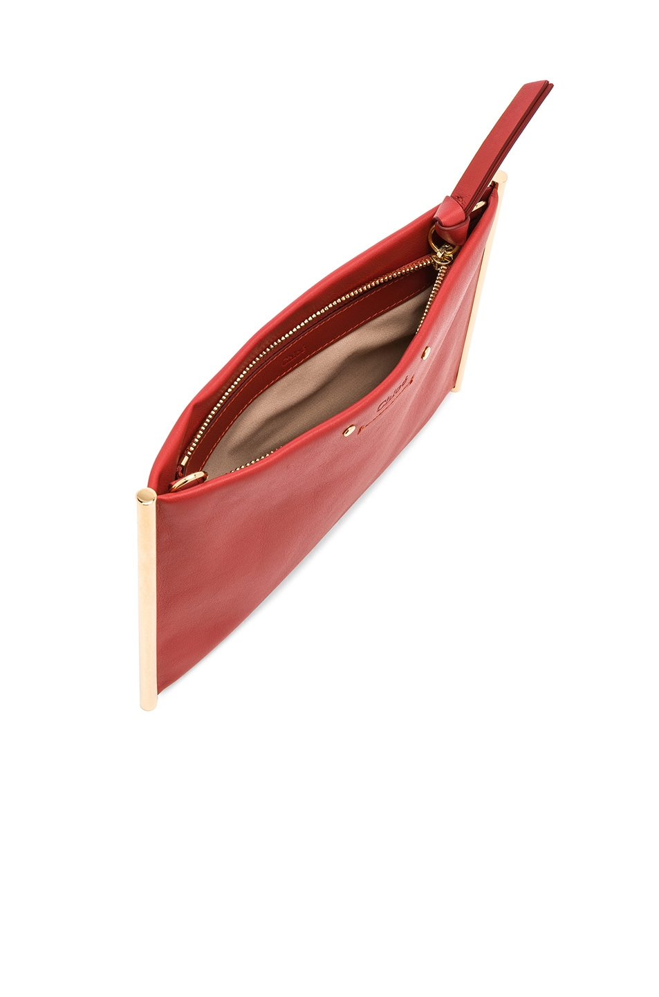 Image 5 of Chloe Roy Smooth Calfskin Clutch in Earthy Red