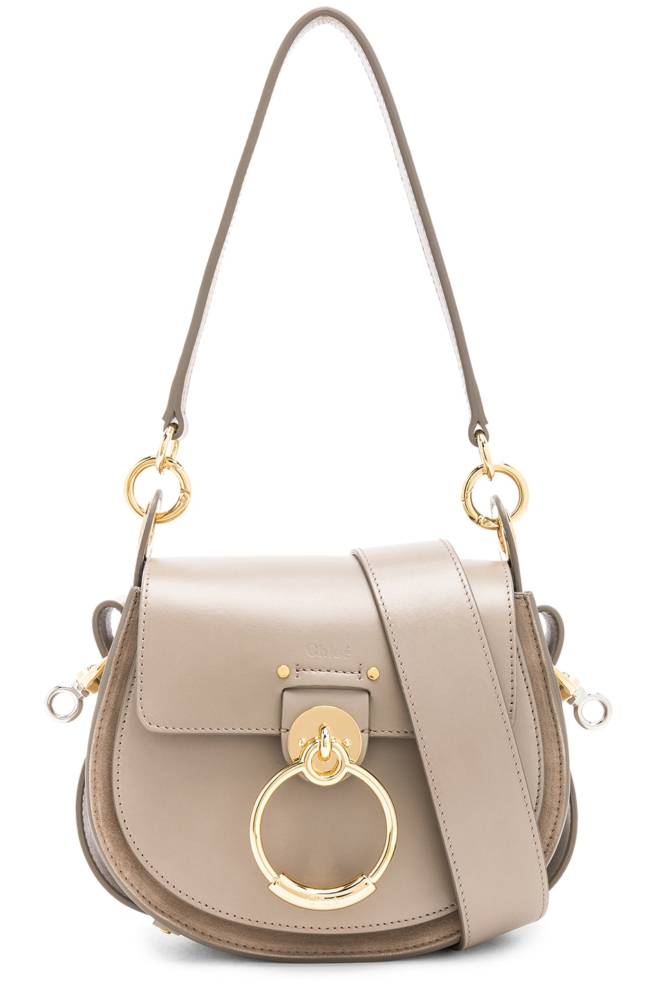 Image 1 of Chloe Small Tess Shiny Calfskin Shoulder Bag in Motty Grey