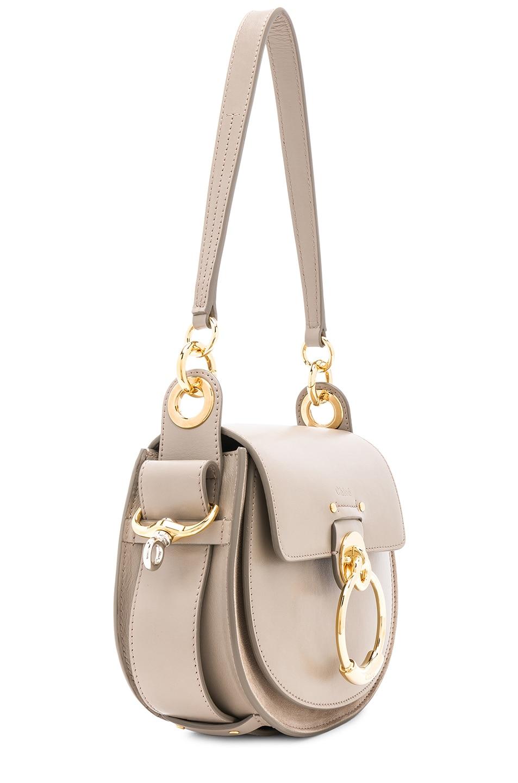 Image 4 of Chloe Small Tess Shiny Calfskin Shoulder Bag in Motty Grey