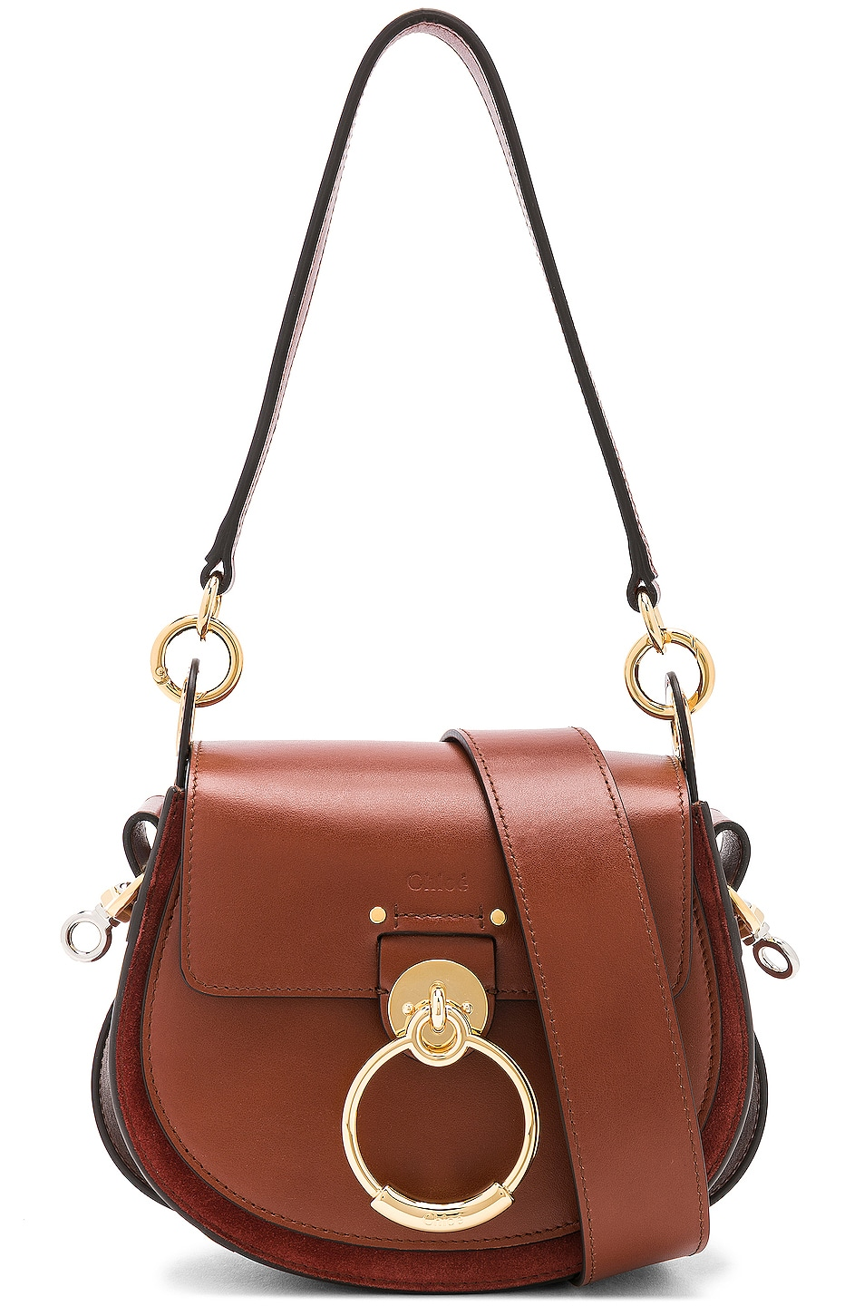 Image 1 of Chloe Small Tess Shiny Calfskin Shoulder Bag in Sepia Brown