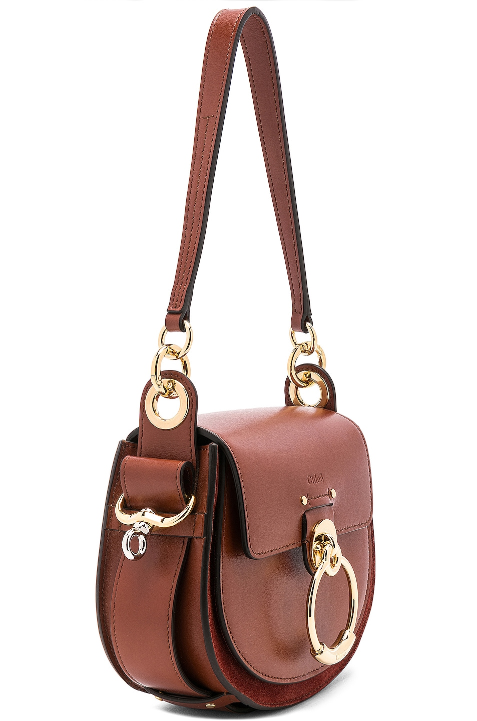 Image 4 of Chloe Small Tess Shiny Calfskin Shoulder Bag in Sepia Brown