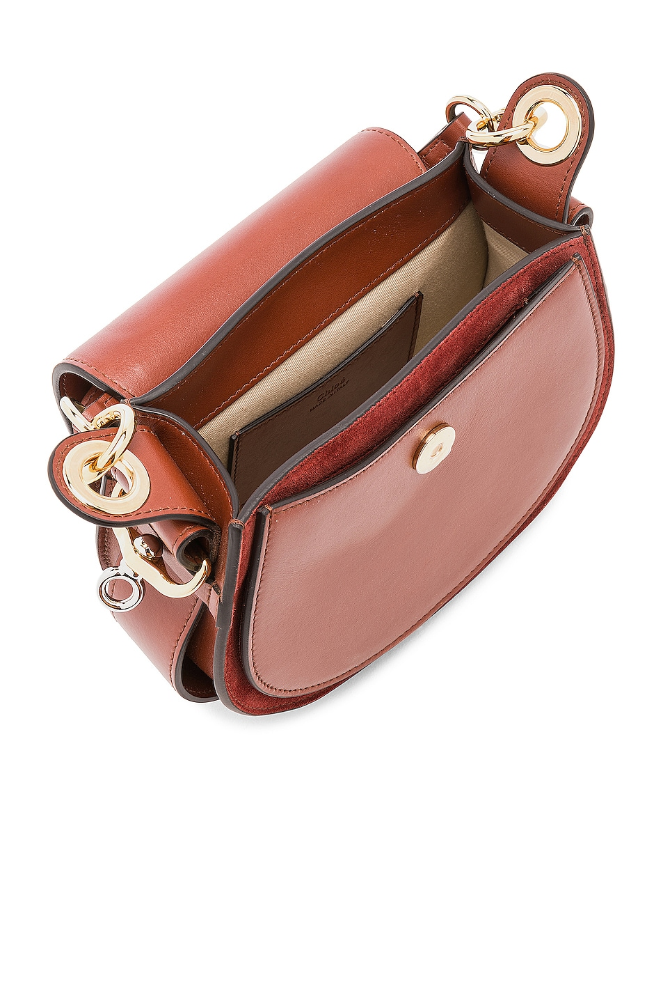 Image 5 of Chloe Small Tess Shiny Calfskin Shoulder Bag in Sepia Brown