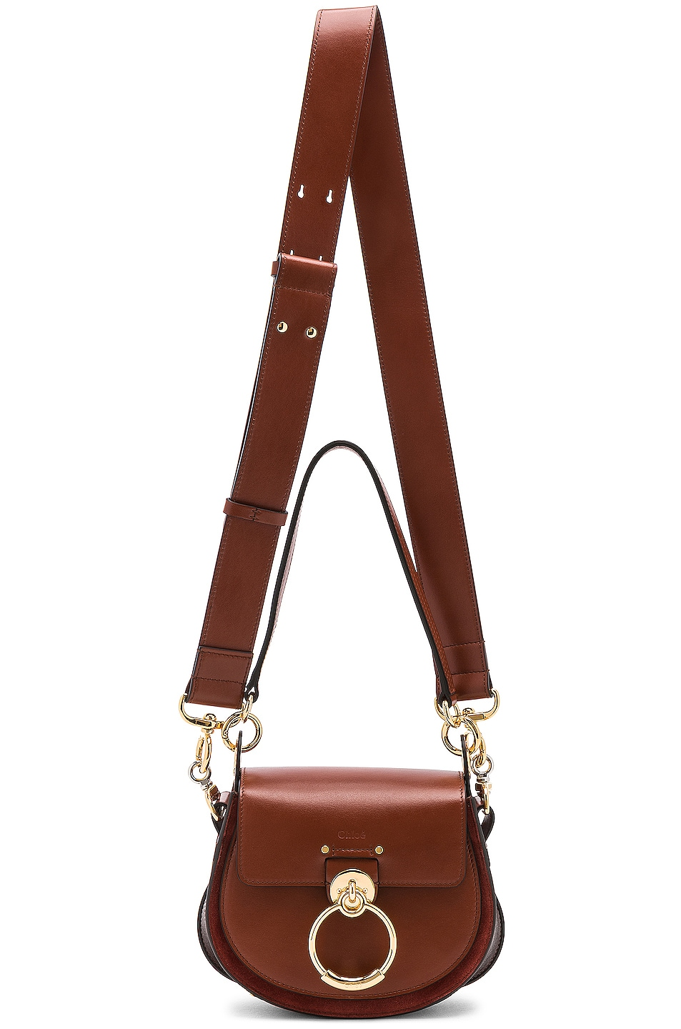 Image 6 of Chloe Small Tess Shiny Calfskin Shoulder Bag in Sepia Brown