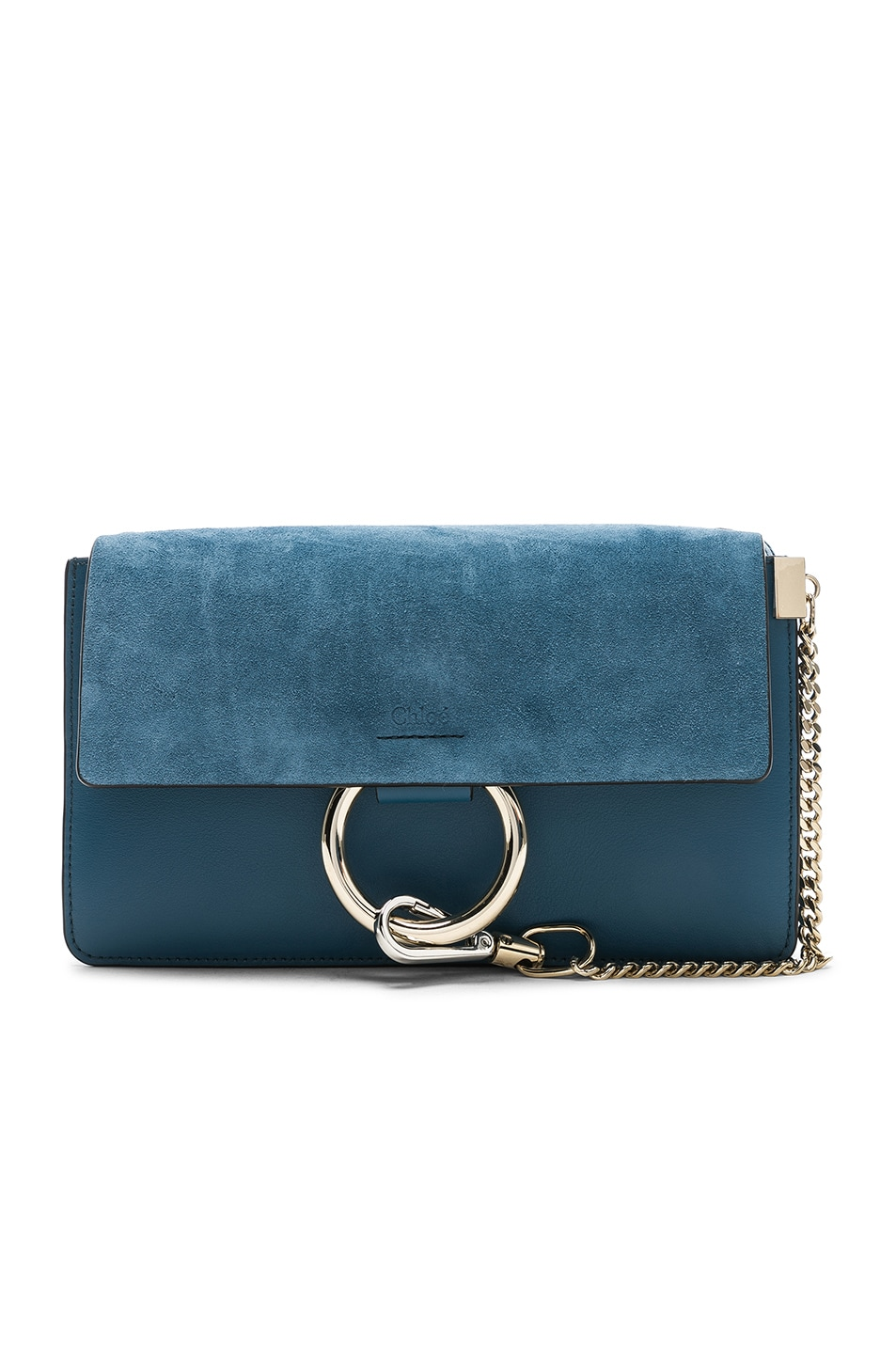 Image 1 of Chloe Small Faye Suede & Calfskin Shoulder Bag in Vinyl Blue