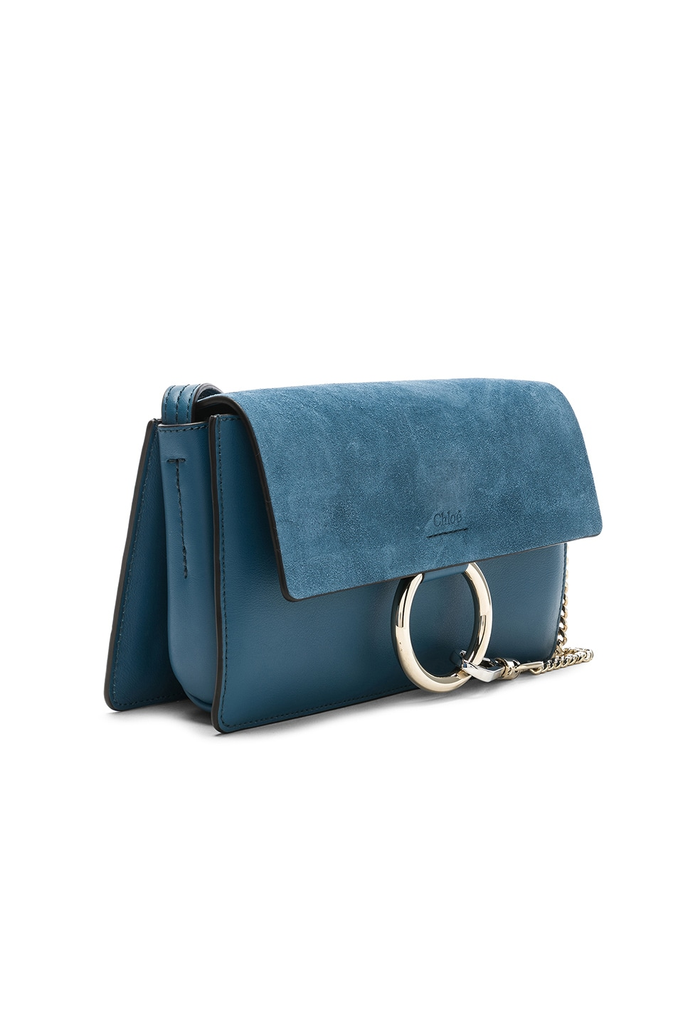 Image 3 of Chloe Small Faye Suede & Calfskin Shoulder Bag in Vinyl Blue