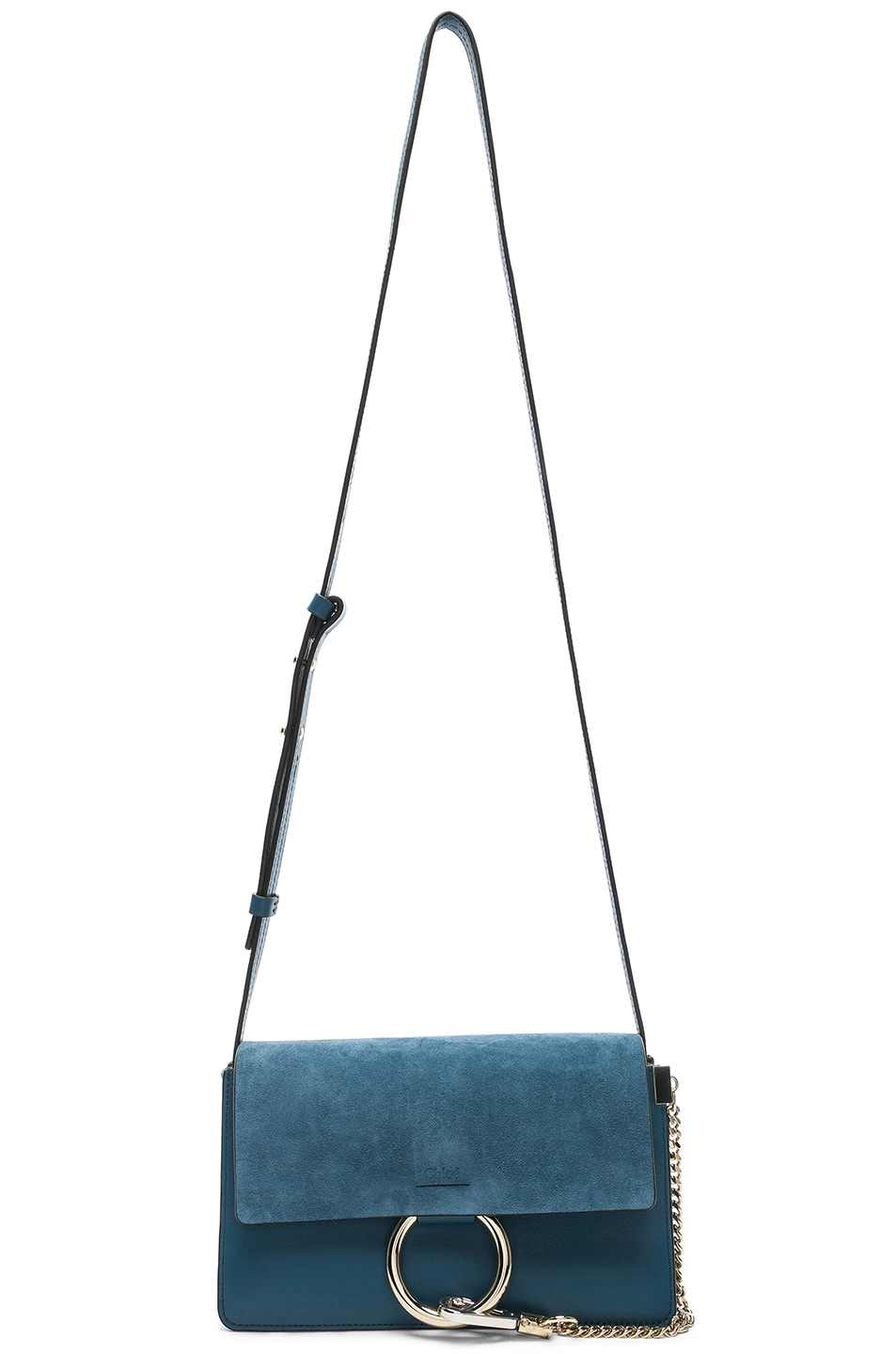 Image 5 of Chloe Small Faye Suede & Calfskin Shoulder Bag in Vinyl Blue