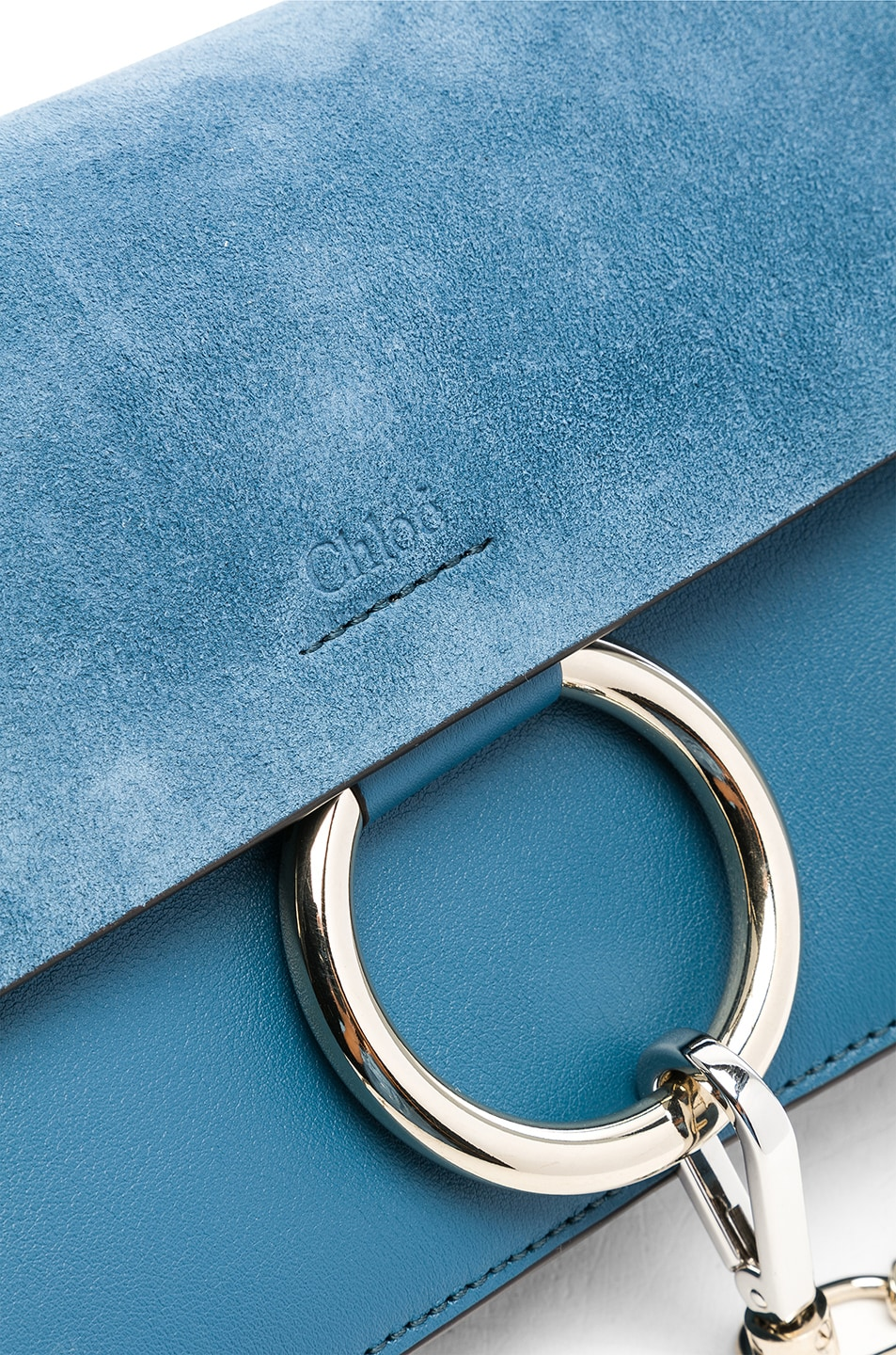 Image 7 of Chloe Small Faye Suede & Calfskin Shoulder Bag in Vinyl Blue