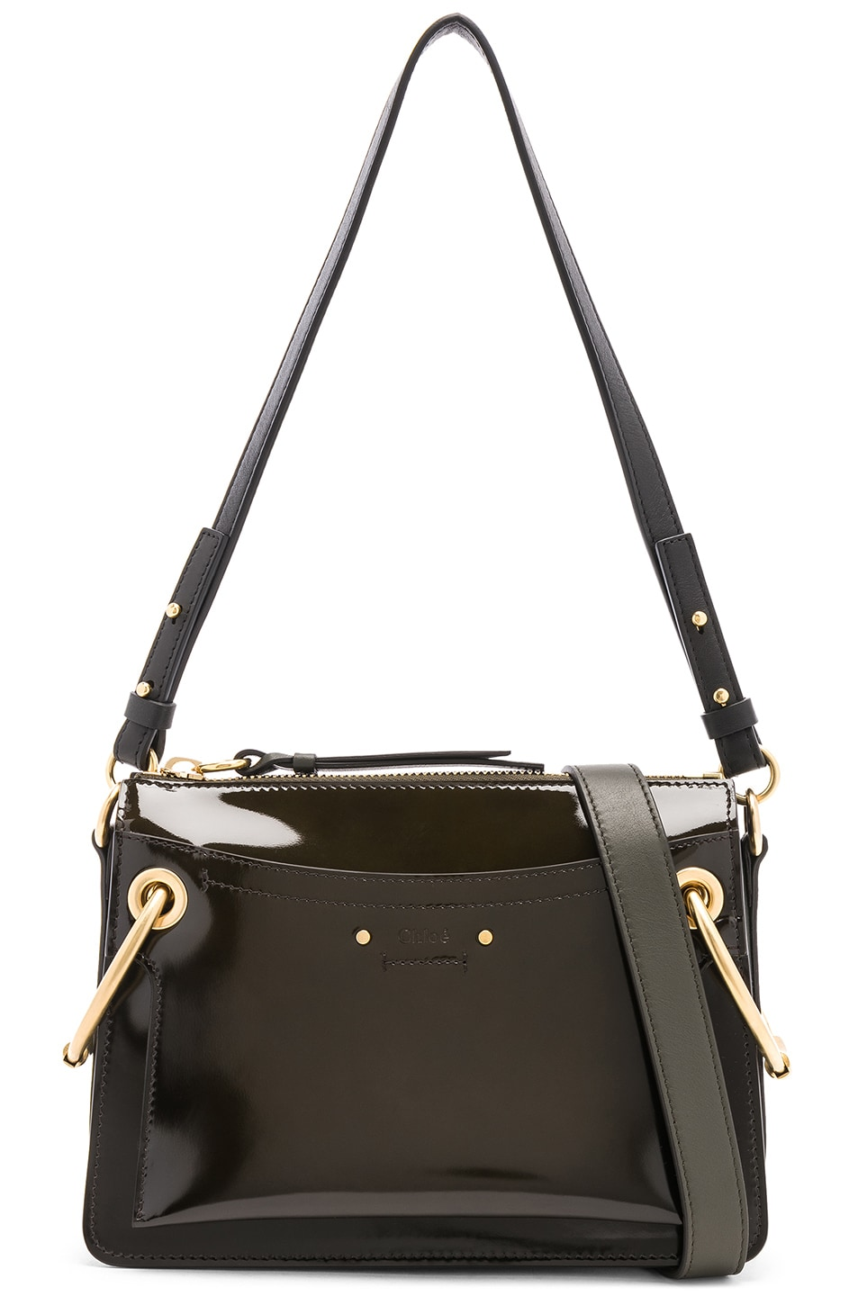 Image 1 of Chloe Small Roy Glossy Lambskin Shoulder Bag in Deep Forest