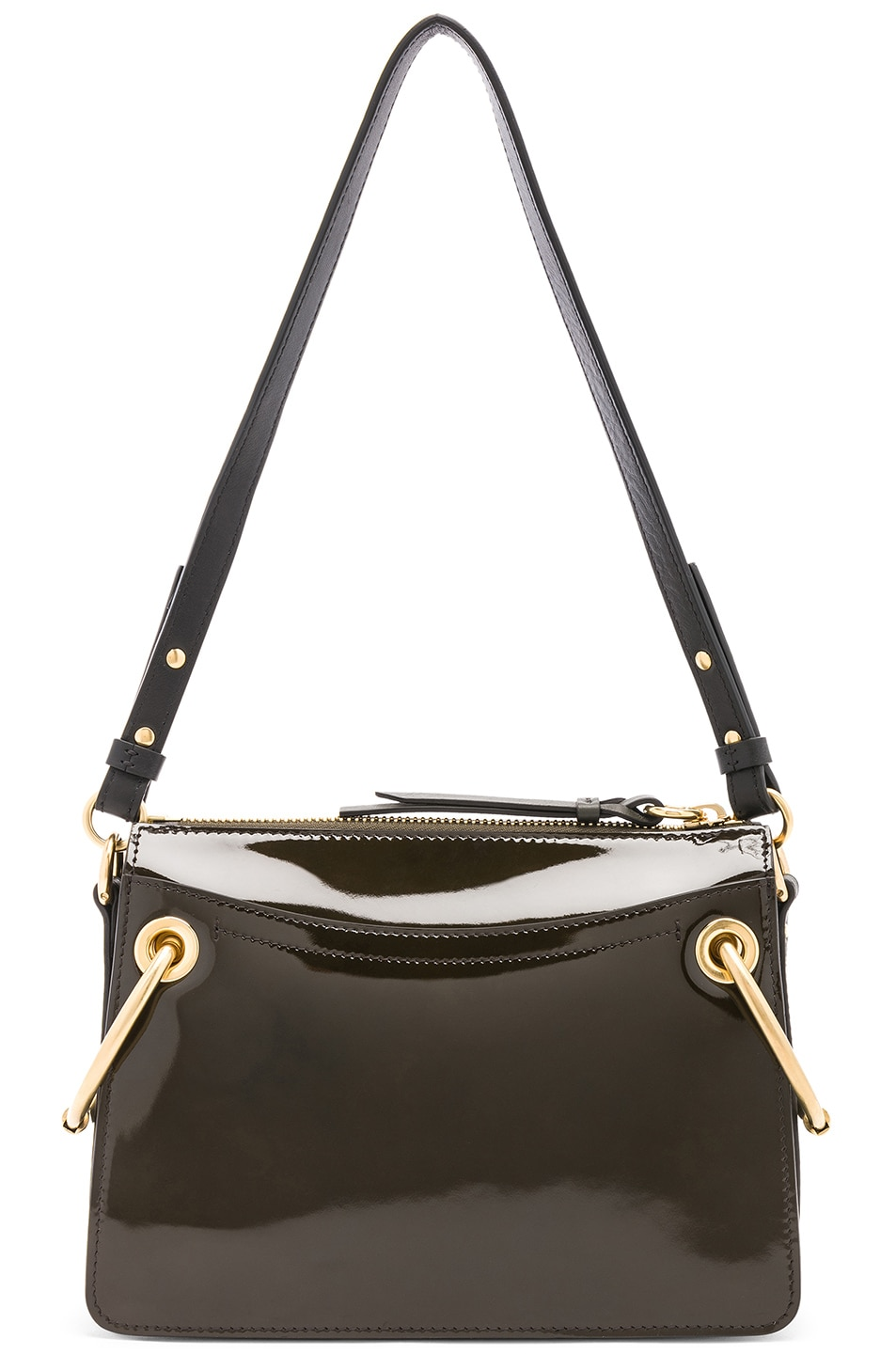 Image 3 of Chloe Small Roy Glossy Lambskin Shoulder Bag in Deep Forest