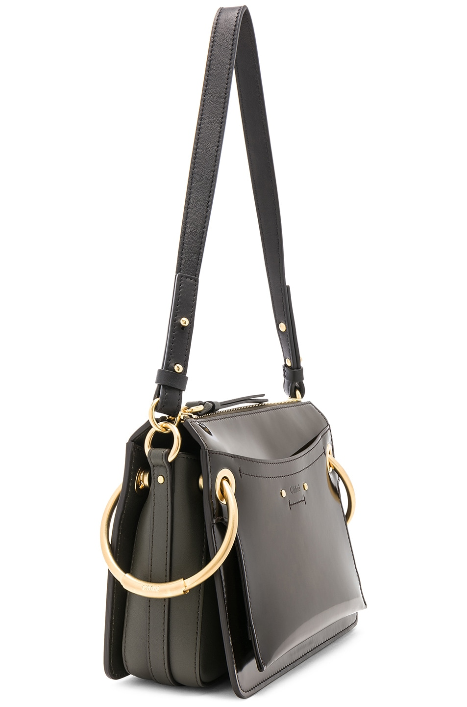 Image 4 of Chloe Small Roy Glossy Lambskin Shoulder Bag in Deep Forest