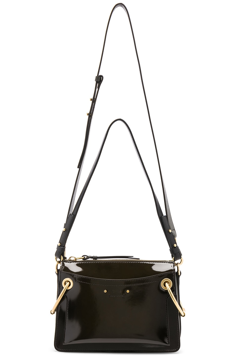 Image 6 of Chloe Small Roy Glossy Lambskin Shoulder Bag in Deep Forest