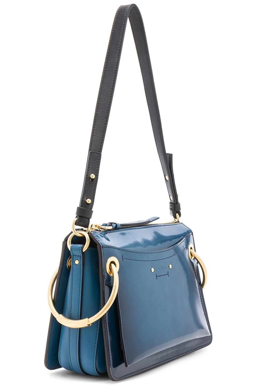 Image 3 of Chloe Small Roy Glossy Lambskin Shoulder Bag in Vinyl Blue