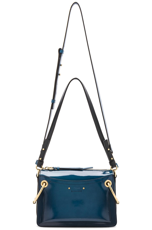 Image 5 of Chloe Small Roy Glossy Lambskin Shoulder Bag in Vinyl Blue