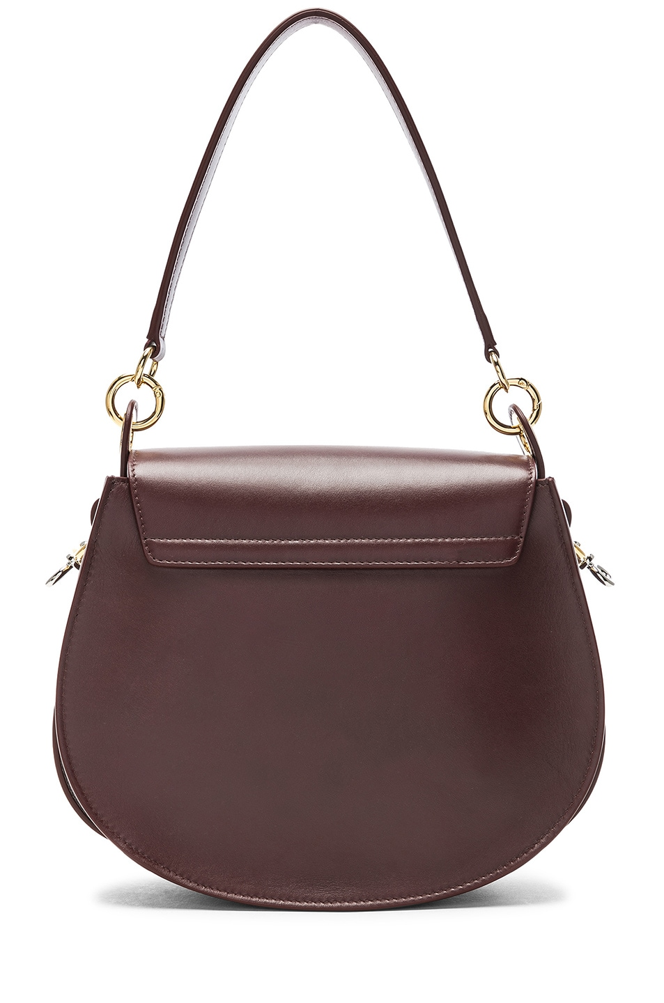 Image 3 of Chloe Medium Tess Shiny Calfskin Shoulder Bag in Burnt Brown