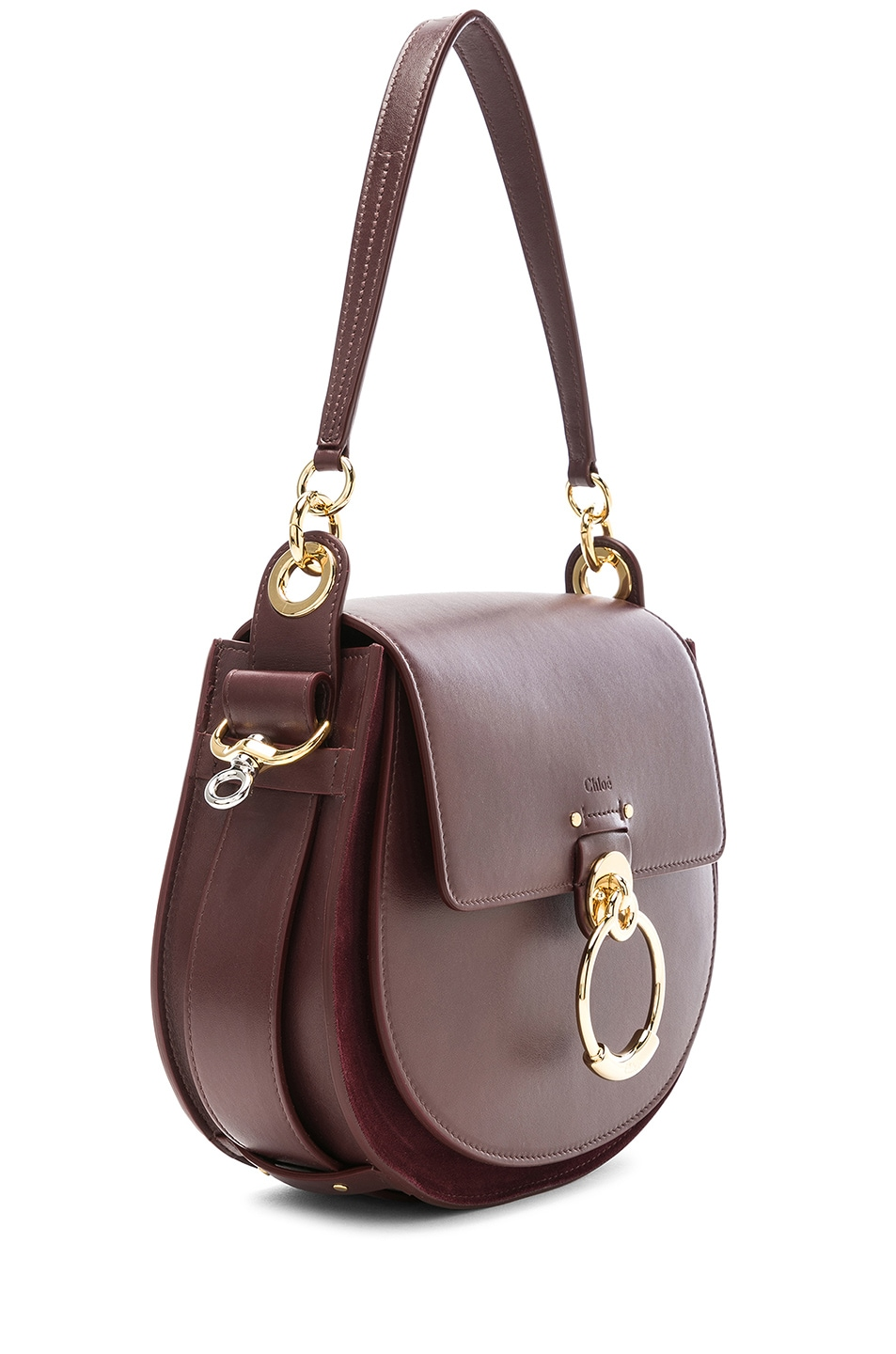Image 4 of Chloe Medium Tess Shiny Calfskin Shoulder Bag in Burnt Brown