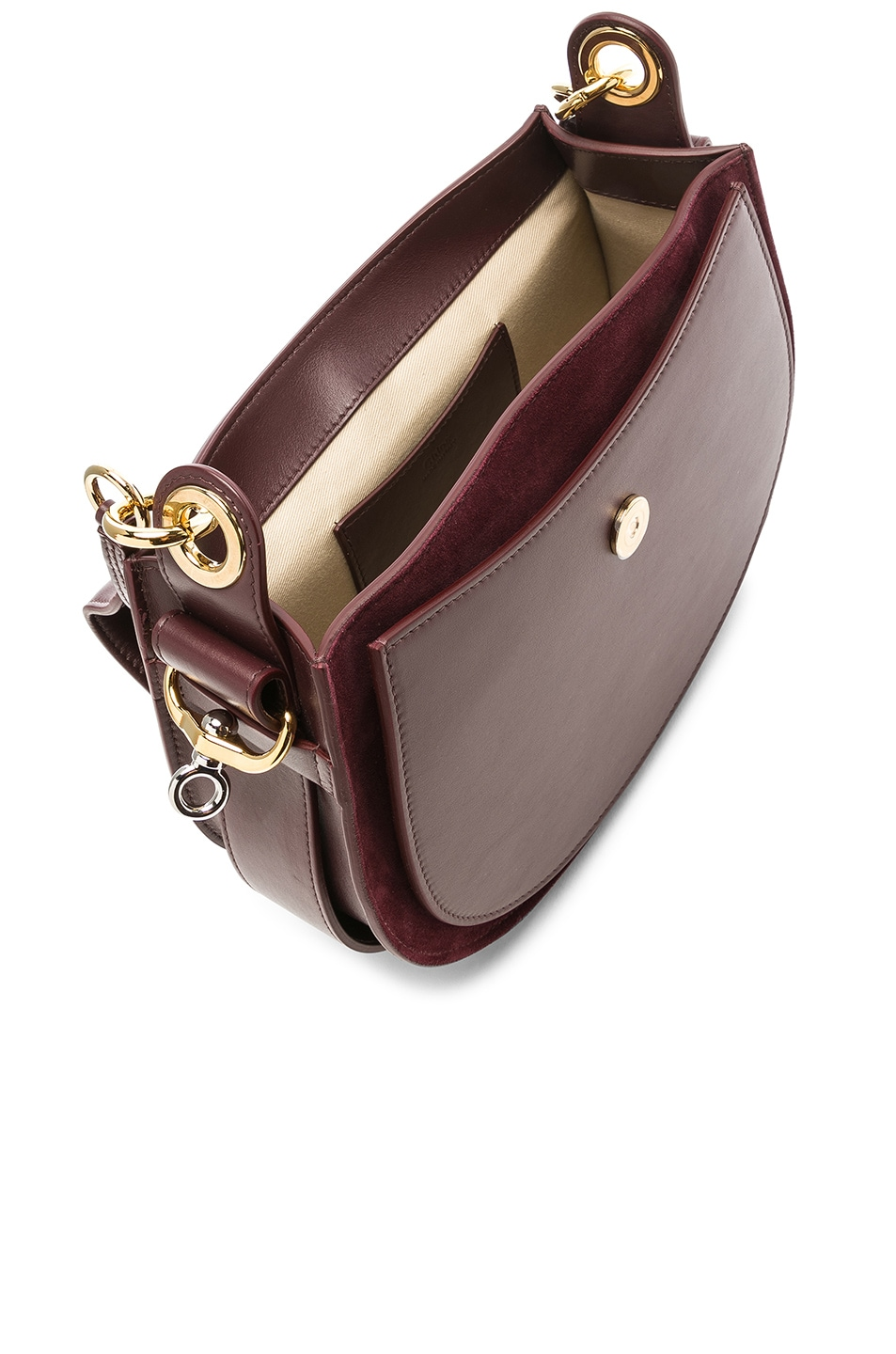 Image 5 of Chloe Medium Tess Shiny Calfskin Shoulder Bag in Burnt Brown