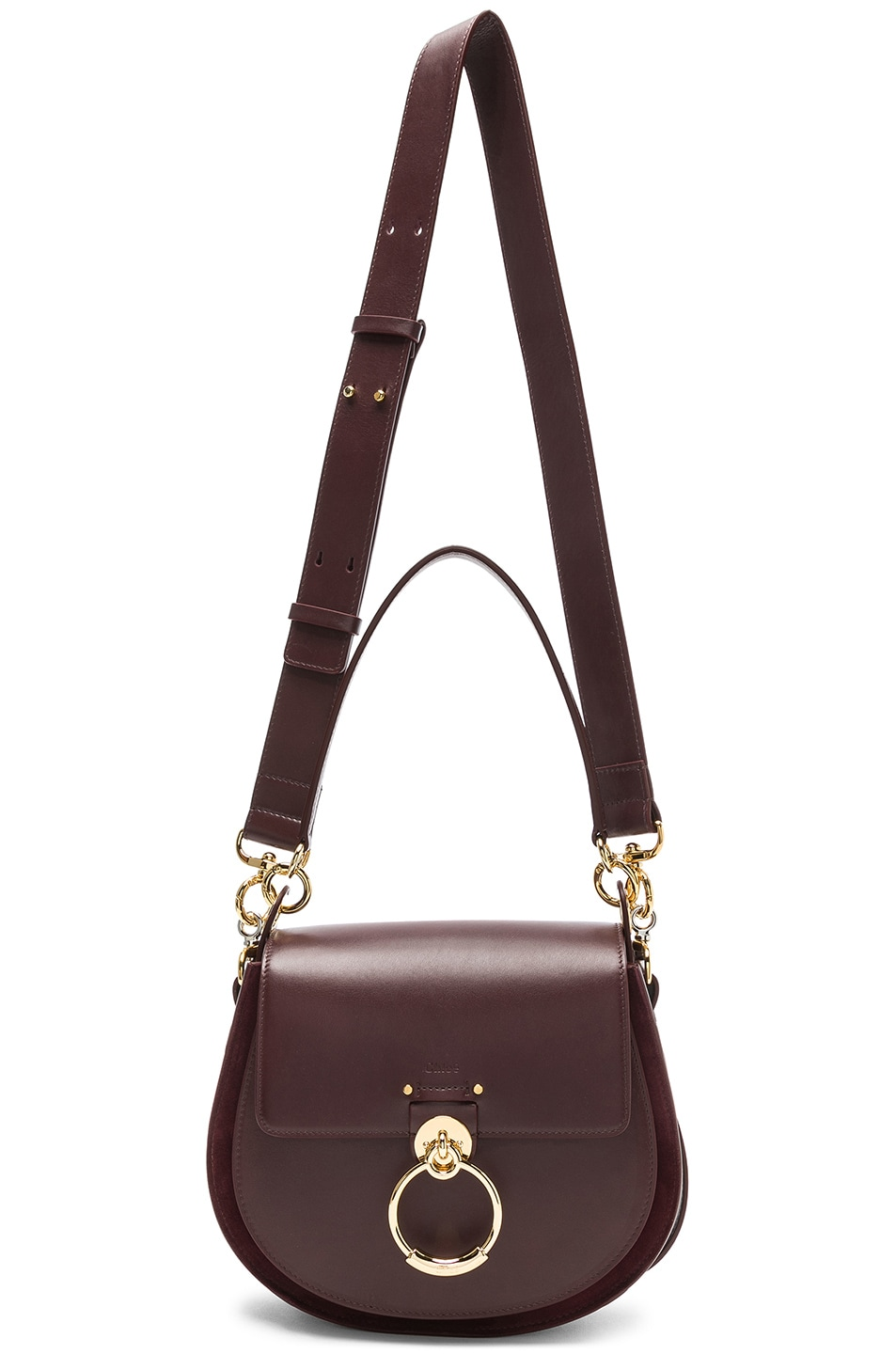Image 6 of Chloe Medium Tess Shiny Calfskin Shoulder Bag in Burnt Brown