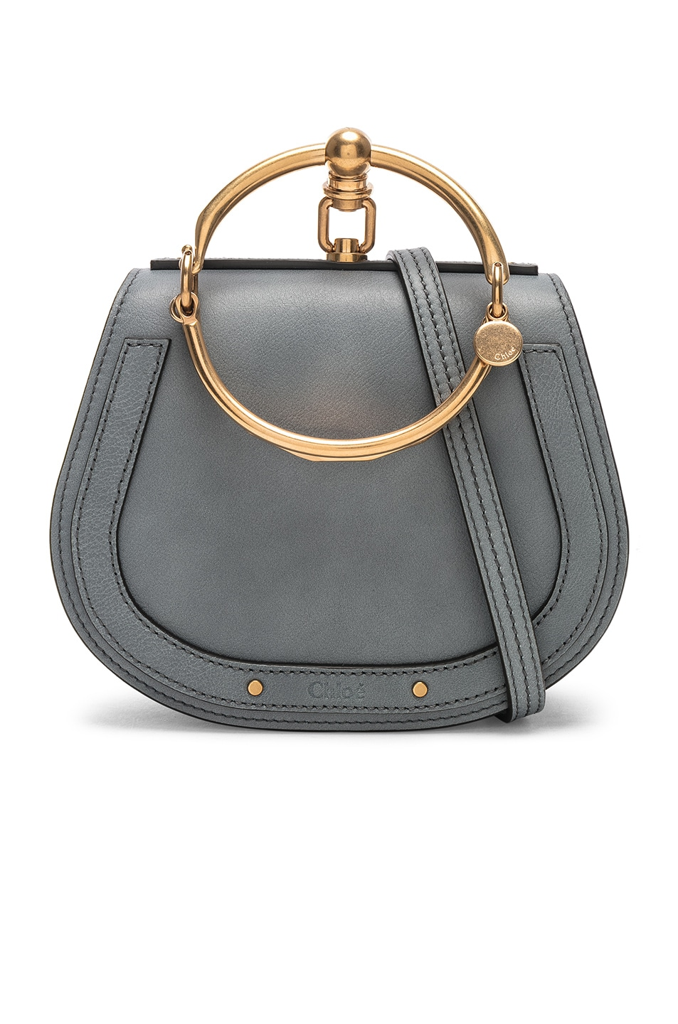 Image 1 of Chloe Small Nile Bracelet Bag Calfskin & Suede in Cloudy Blue